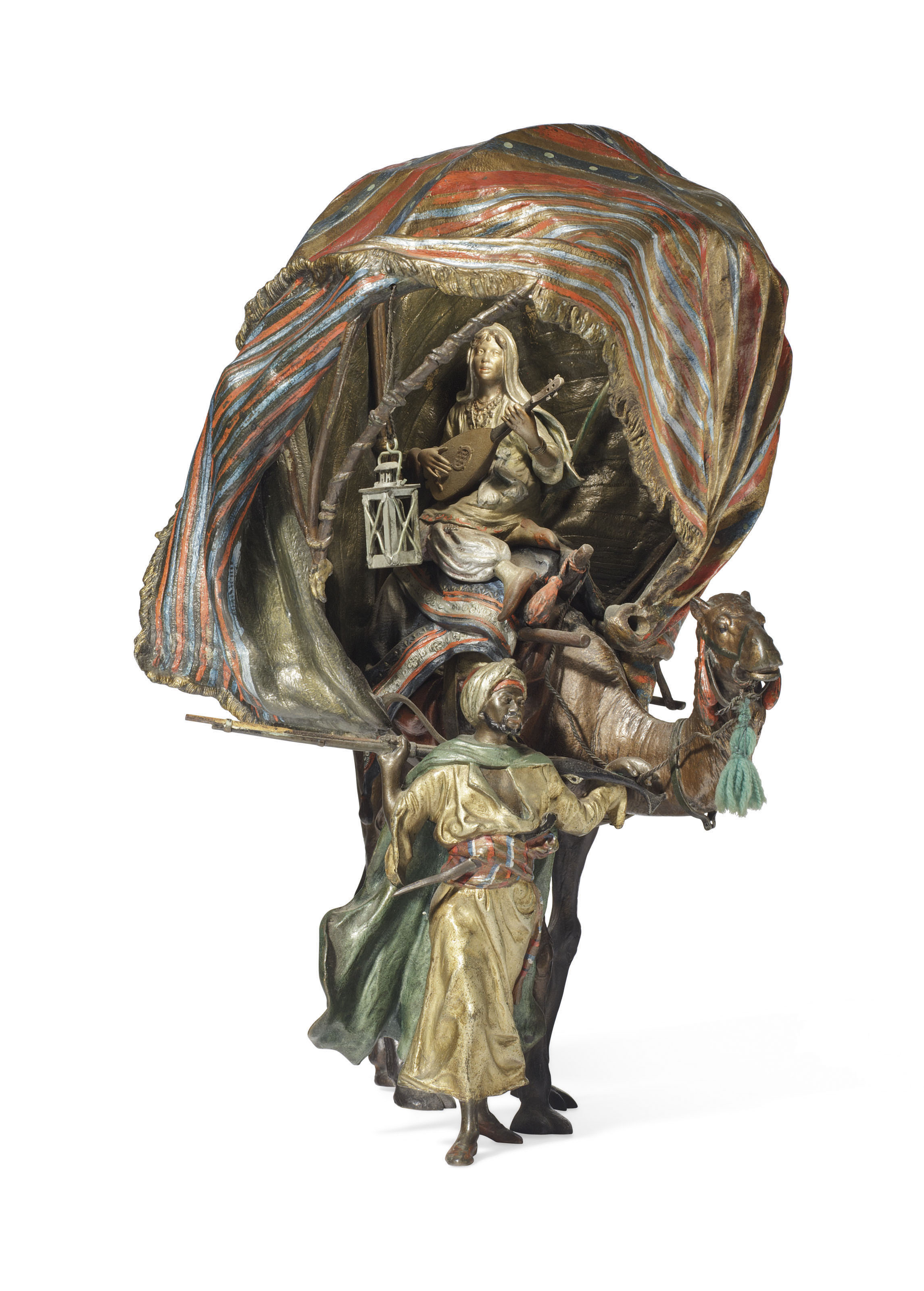 AN AUSTRIAN COLD-PAINTED BRONZE FIGURAL LAMP
