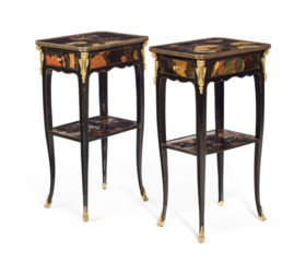 A PAIR OF LOUIS XV STYLE ORMOLU-MOUNTED CHINESE LACQUER AND