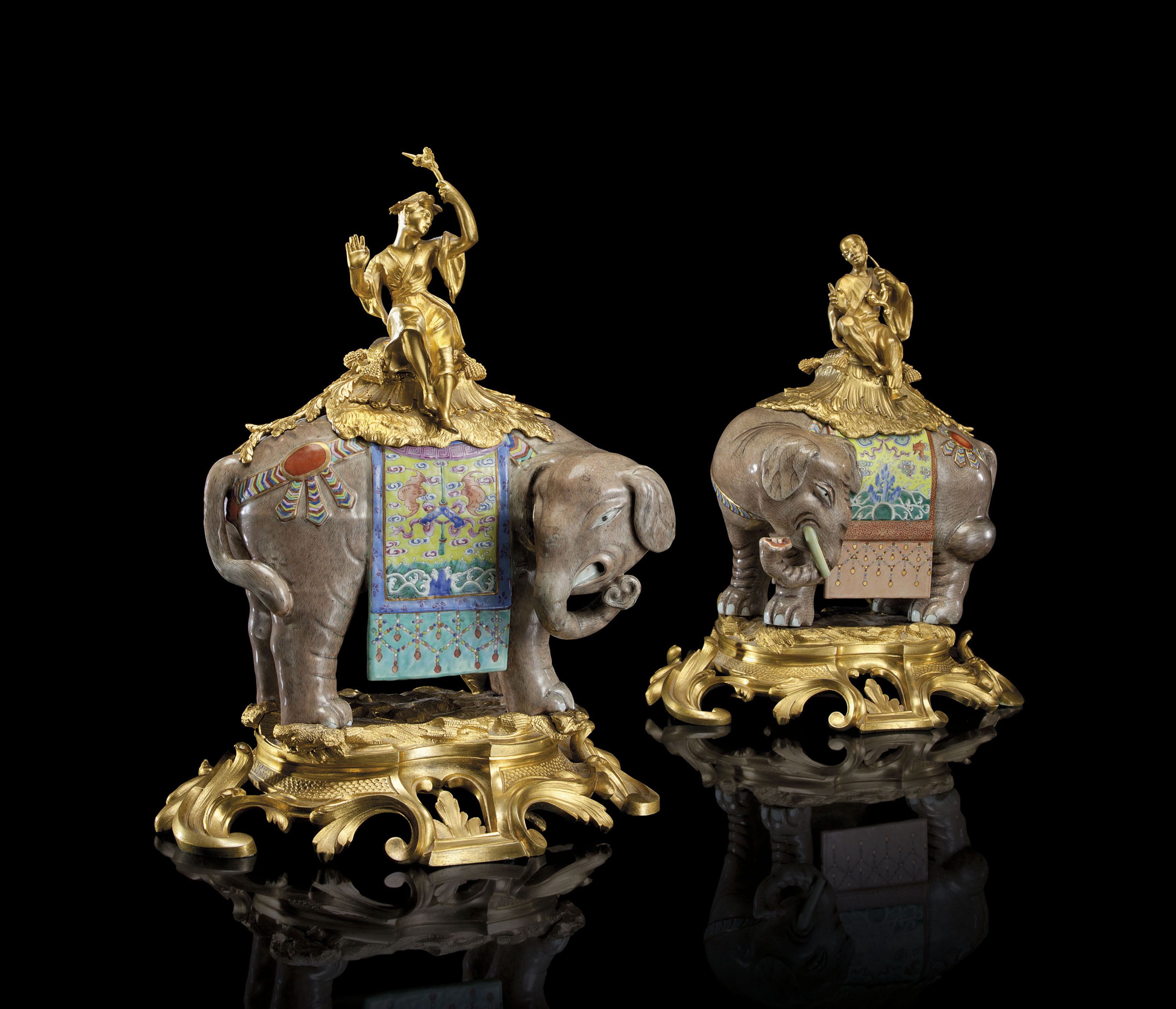 A PAIR OF ORMOLU-MOUNTED CHINESE PORCELAIN ELEPHANTS | JIAQING