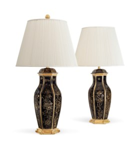 A PAIR OF AMERICAN ORMOLU-MOUNTED BLACK AND PARCEL-GILT PORC