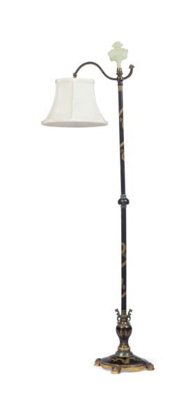 AN AMERICAN GILT-BRONZE AND CLOISONNÉ ENAMEL FLOOR LAMP