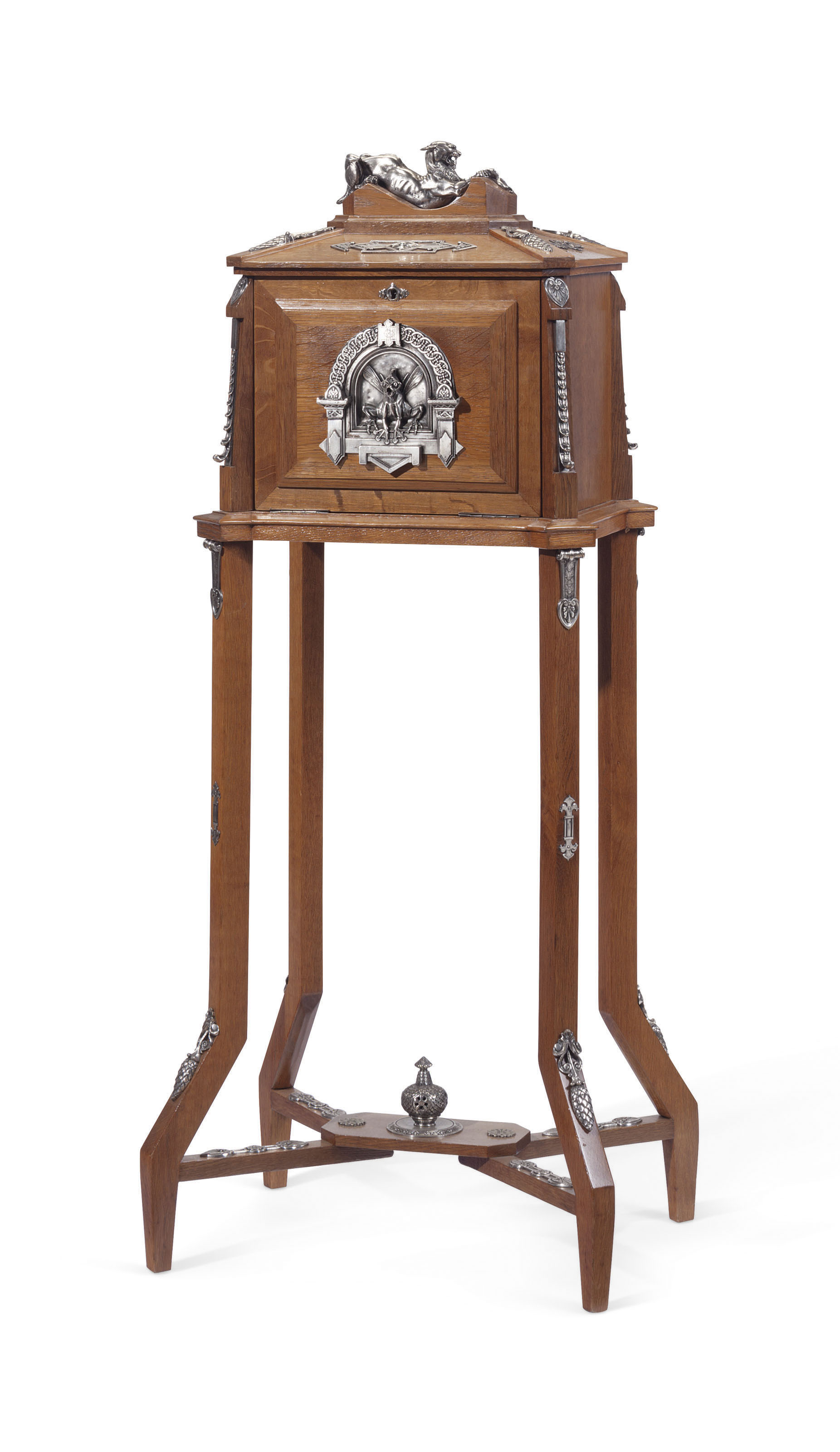 A NAPOLEON III SILVERED COPPER-MOUNTED OAK CIGAR CABINET-ON-STAND