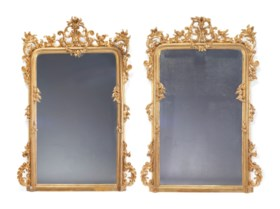A PAIR OF LARGE GILTWOOD MIRRORS