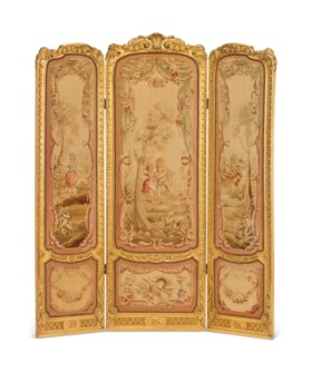 A FRENCH GILTWOOD AND AUBUSSON STYLE TAPESTRY THREE-PANEL FO