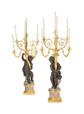 A PAIR OF NAPOLEON III ORMOLU, PATINATED AND SILVERED-BRONZE