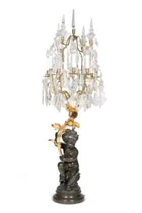 A LARGE PAIR OF ORMOLU, PATINATED BRONZE AND CUT-GLASS EIGHT