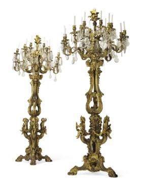 A MONUMENTAL PAIR OF FRENCH ORMOLU AND CUT-GLASS EIGHTEEN-LI