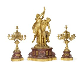 A NAPOLEON III ORMOLU AND ROUGE GRIOTTE MARBLE THREE-PIECE C