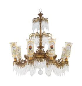 A FRENCH GILT-BRONZE, CUT AND ENAMELED GLASS EIGHT-LIGHT CHA