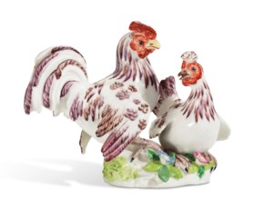 A BOW PORCELAIN GROUP OF A HEN AND COCKEREL