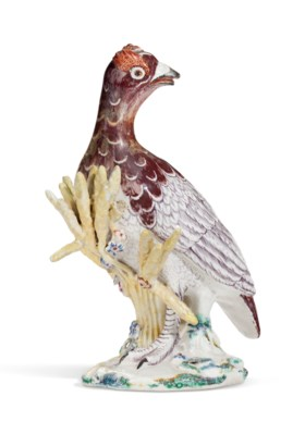 A CHELSEA PORCELAIN MODEL OF A GROUSE OR PARTRIDGE