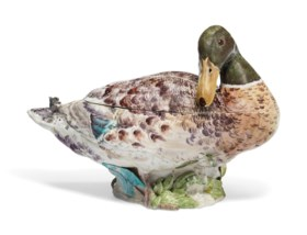 A CHELSEA PORCELAIN DUCK TUREEN AND COVER