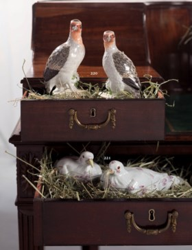 A PAIR OF LONGTON HALL PORCELAIN PIGEON TUREENS AND COVERS