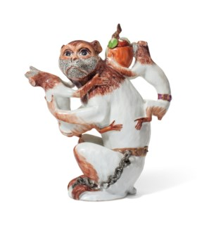 A MEISSEN PORCELAIN MONKEY TEAPOT AND COVER