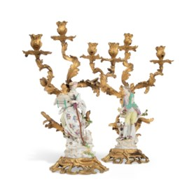 A PAIR OF ORMOLU-MOUNTED MEISSEN PORCELAIN FIGURES OF A SHEP