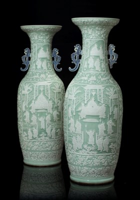 A PAIR OF CHINESE CELADON-GROUND MASSIVE VASES