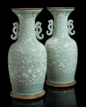 A PAIR OF ORMOLU-MOUNTED CHINESE CELADON-GROUND VASES