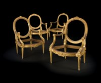 A SET OF FOUR LOUIS XVI GILTWOOD FAUTEUILS