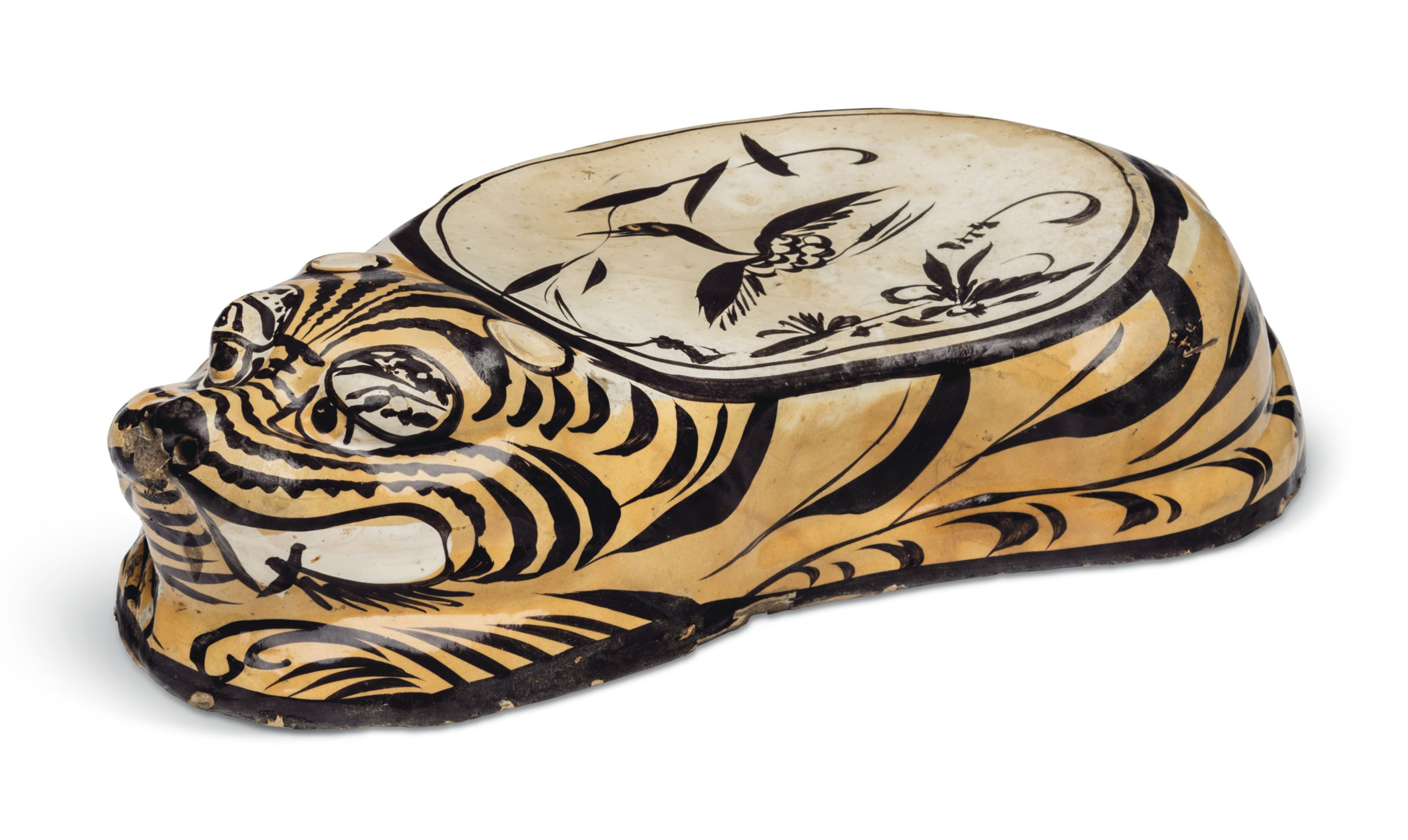 A PAINTED CIZHOU TIGER-FORM PILLOW | JIN DYNASTY (1115-1234) | All