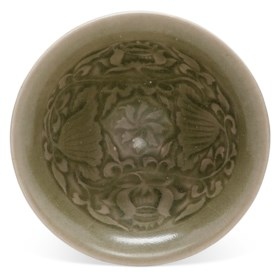 A YAOZHOU CELADON-GLAZED CONICAL BOWL