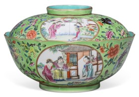 A FAMILLE ROSE GREEN-GROUND BOWL AND COVER
