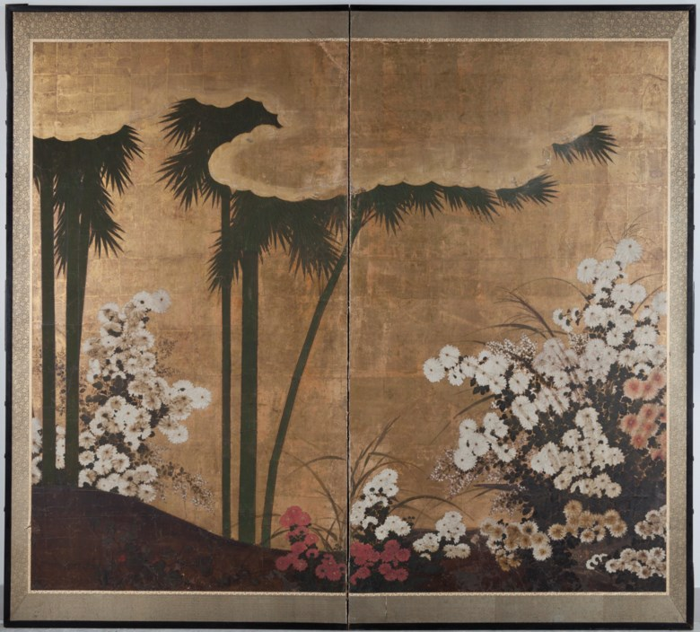 Anonymous (18th Century), Bamboo and flowers. 59⅛ x 68⅛ in (150.2 x 173 cm). Estimate $2,000-3,000                            (£1,585.20 - GBP 2,377.80). This lot is offered in  Edo to Post-War 500 Years of Japanese Art and Design, 12-19 November 2018, Online