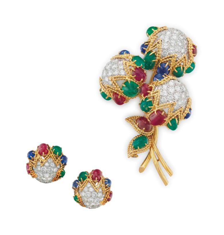 A set of multi-gem and diamond jewellery, by Van Cleef & Arpels. Comprising a brooch, designed as a bouquet of pavé-set diamond flower buds, trimmed with cabochon emeralds, rubies and sapphires and gold wirework detail, to the cabochon ruby and emerald leaves and textured gold stems; and a pair of earrings en suite, 2¾  ins (brooch),⅞  in (earrings), with French export marks,