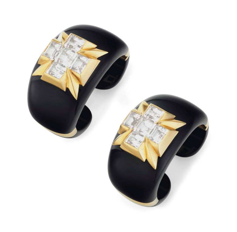 A pair of white topaz, black jade and gold 'Five Stone' cuff bracelets, by Verdura. Estimate $30,000-50,000. This lot is offered in Magnificent Jewels on 17 April at Christie's in New York