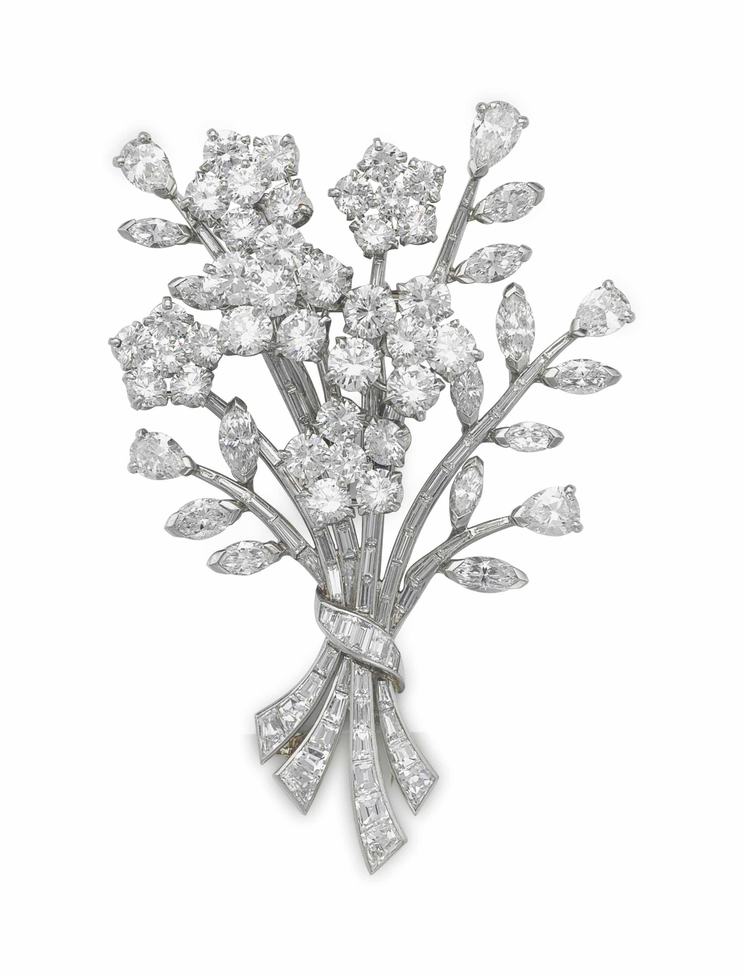 A Diamond Flower Bouquet Brooch By Van Cleef Arpels Jewelry