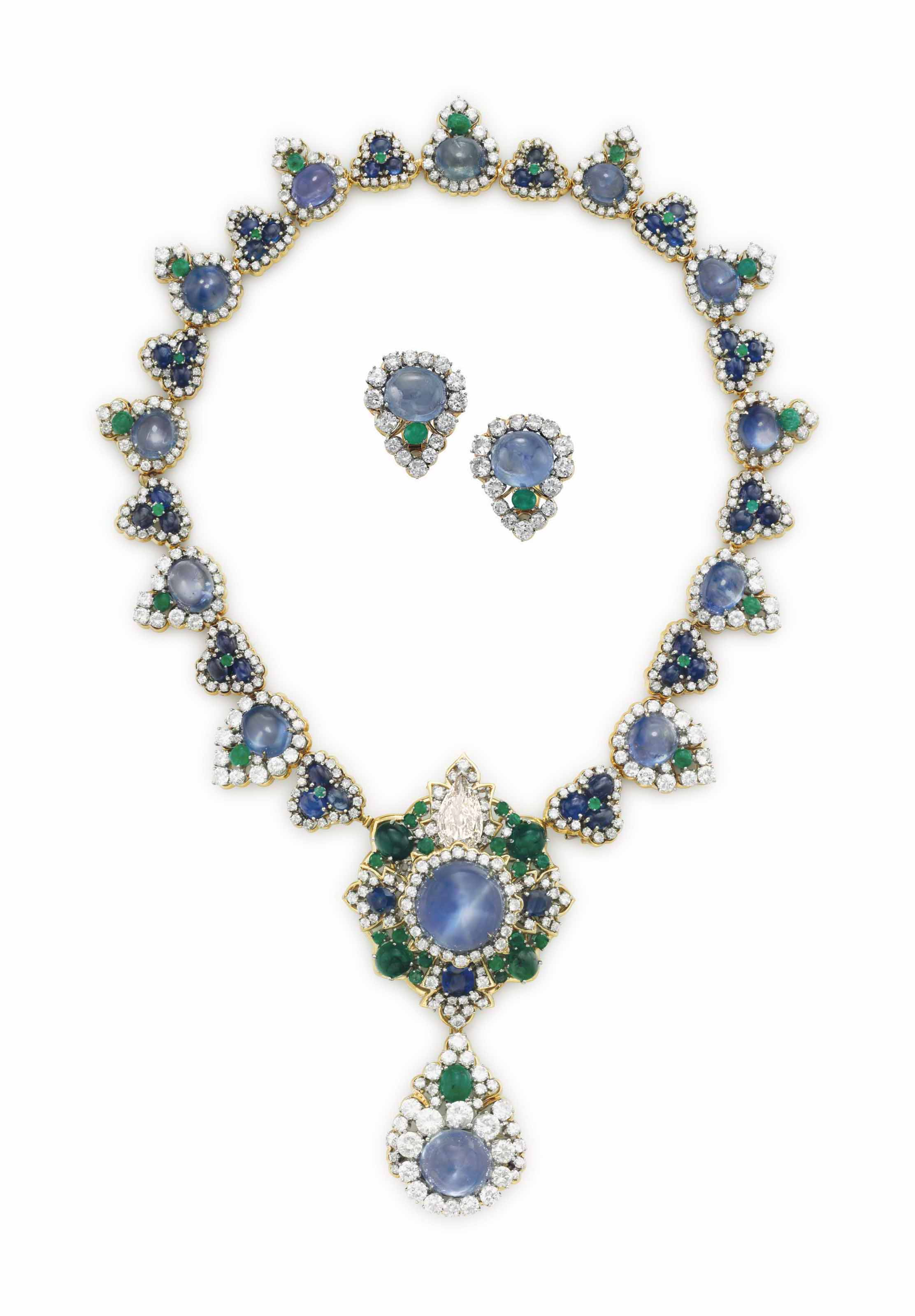 A SET OF SAPPHIRE, EMERALD AND DIAMOND JEWELRY, BY DAVID WEBB