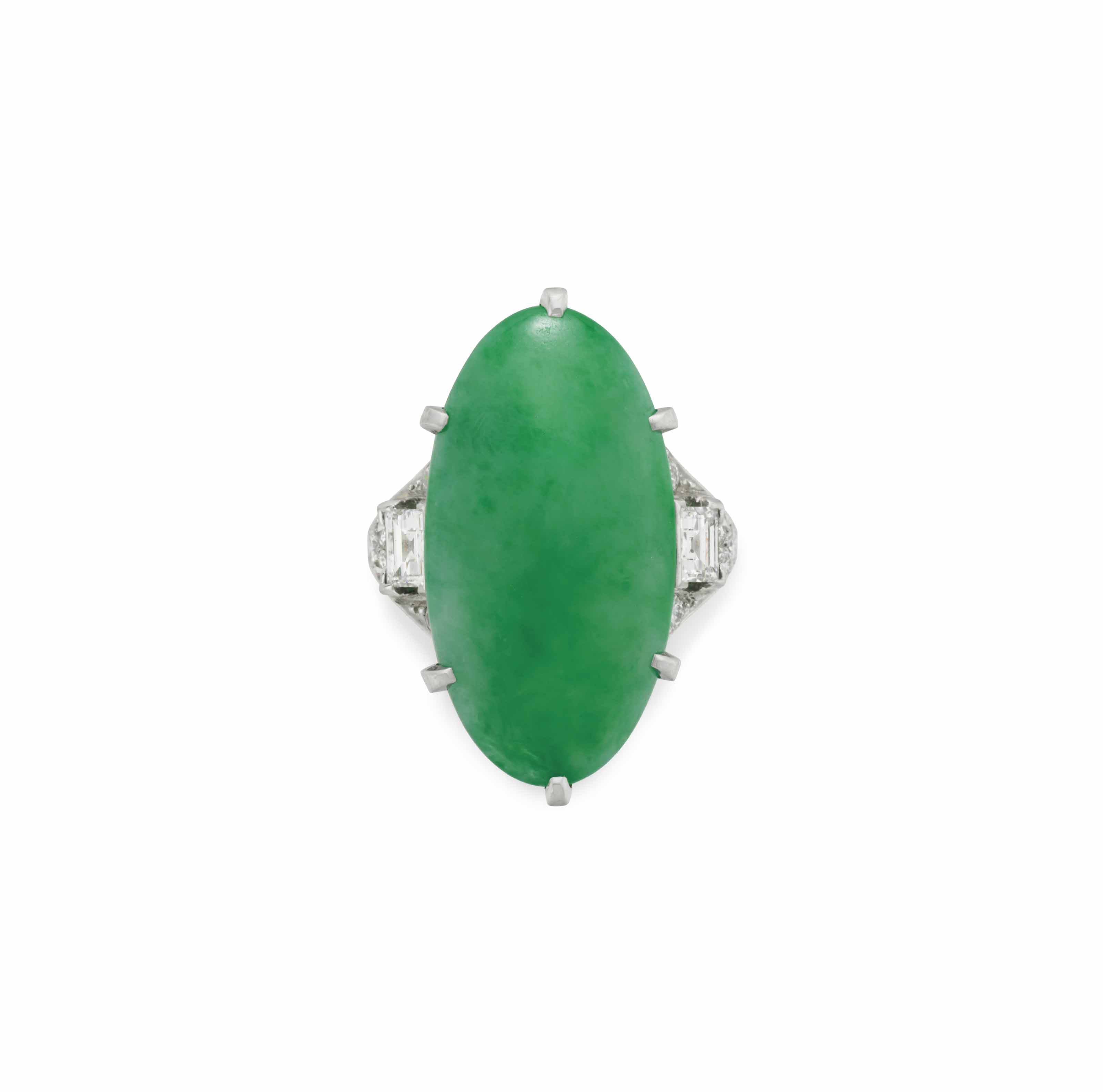 AN ART DECO JADE AND DIAMOND RING, BY J. E. CALDWELL & CO.