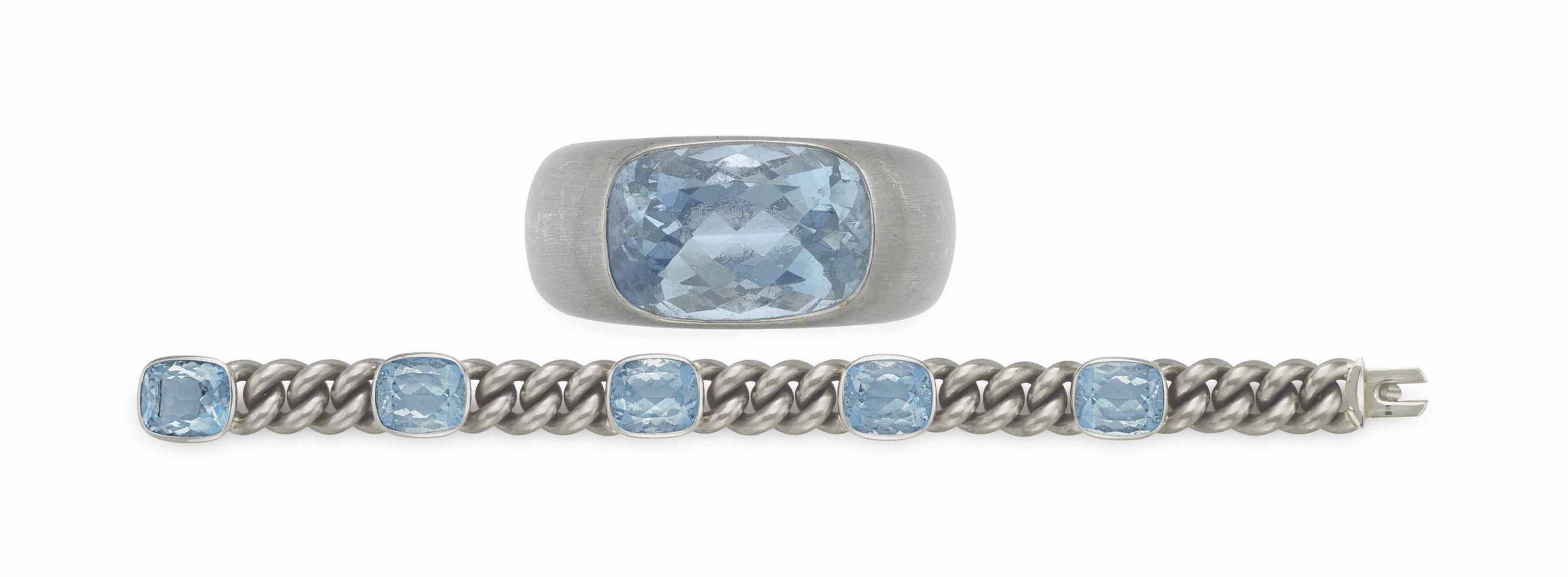 A GROUP OF WHITE GOLD AND AQUAMARINE JEWELRY, BY HEMMERLE