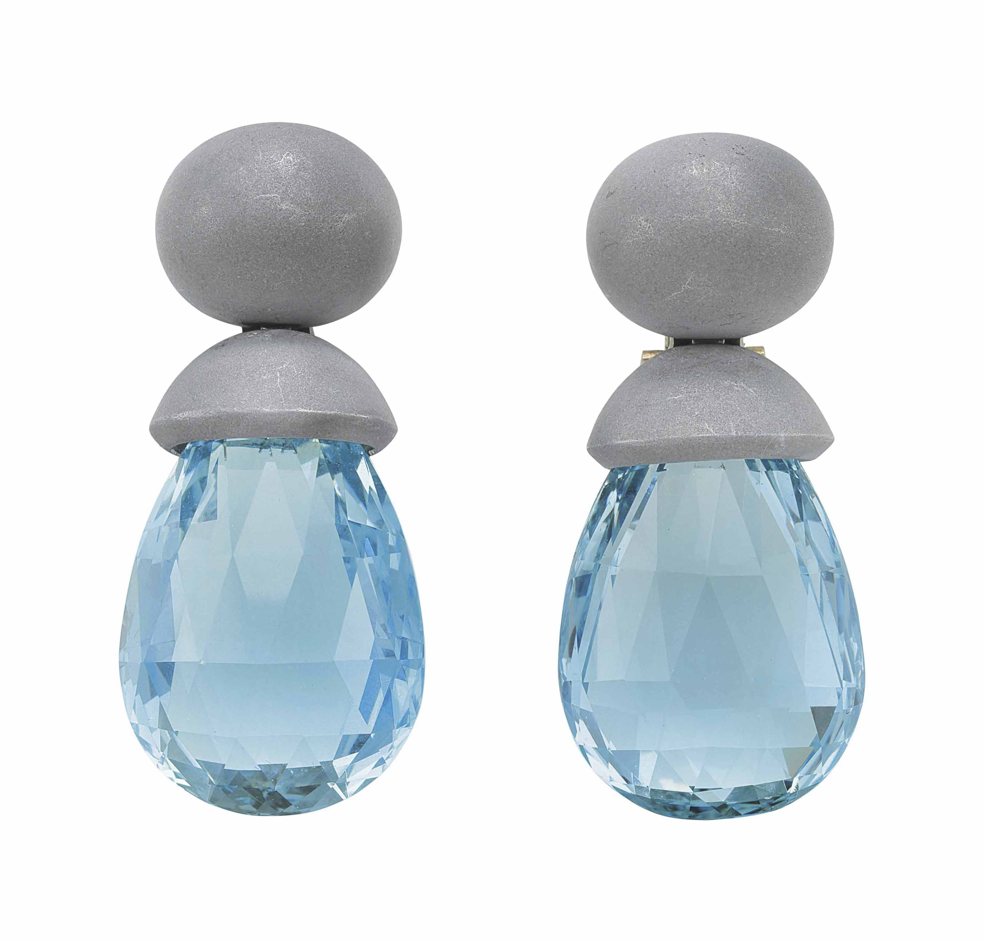 A PAIR OF AQUAMARINE AND ALUMINUM EARRINGS, BY HEMMERLE