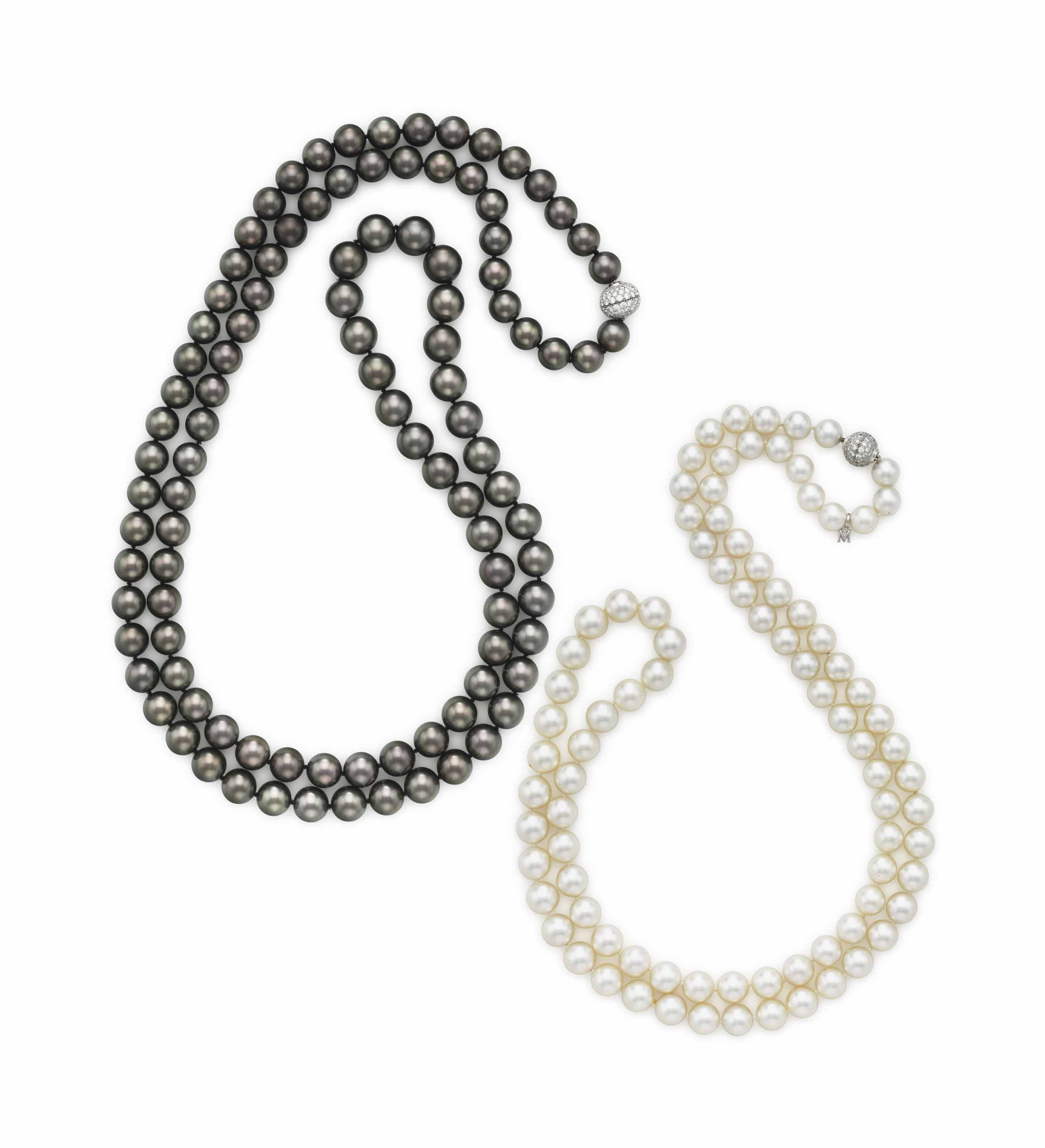 A SINGLE-STRAND CULTURED PEARL AND DIAMOND NECKLACE, BY MIKIMOTO AND A SINGLE-STRAND GRAY CULTURED PEARL AND DIAMOND NECKLACE