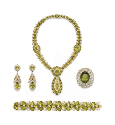 A SUITE OF PERIDOT AND DIAMOND
