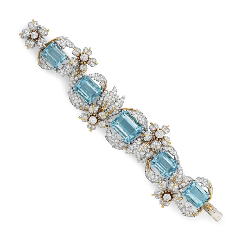 From The Collection of Peggy and David Rockefeller. An aquamarine and diamond 'Leaves and Flowers' bracelet, by Jean Schlumberger, Tiffany & Co. Sold for $250,000 on 12 June 2018 at Christie's in New York