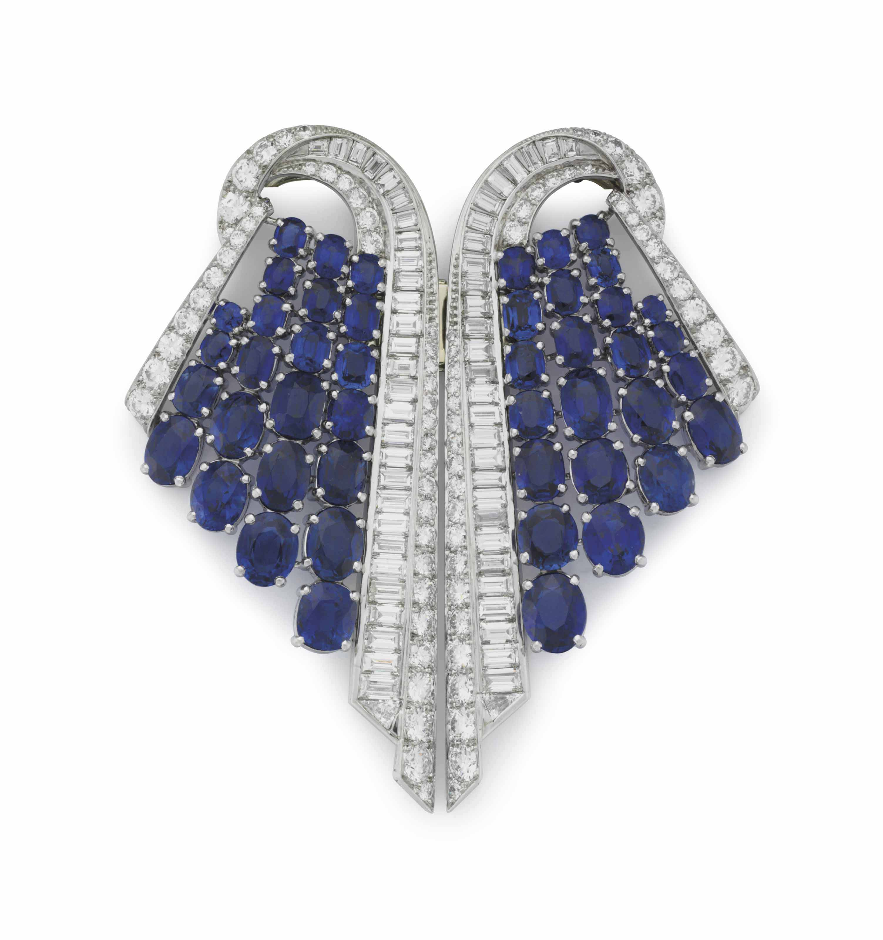 AN ART DECO SAPPHIRE AND DIAMOND DOUBLE-CLIP BROOCH, BY MARCUS & CO.