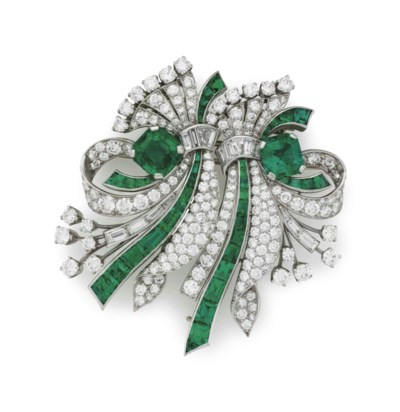 AN EMERALD AND DIAMOND DOUBLE-