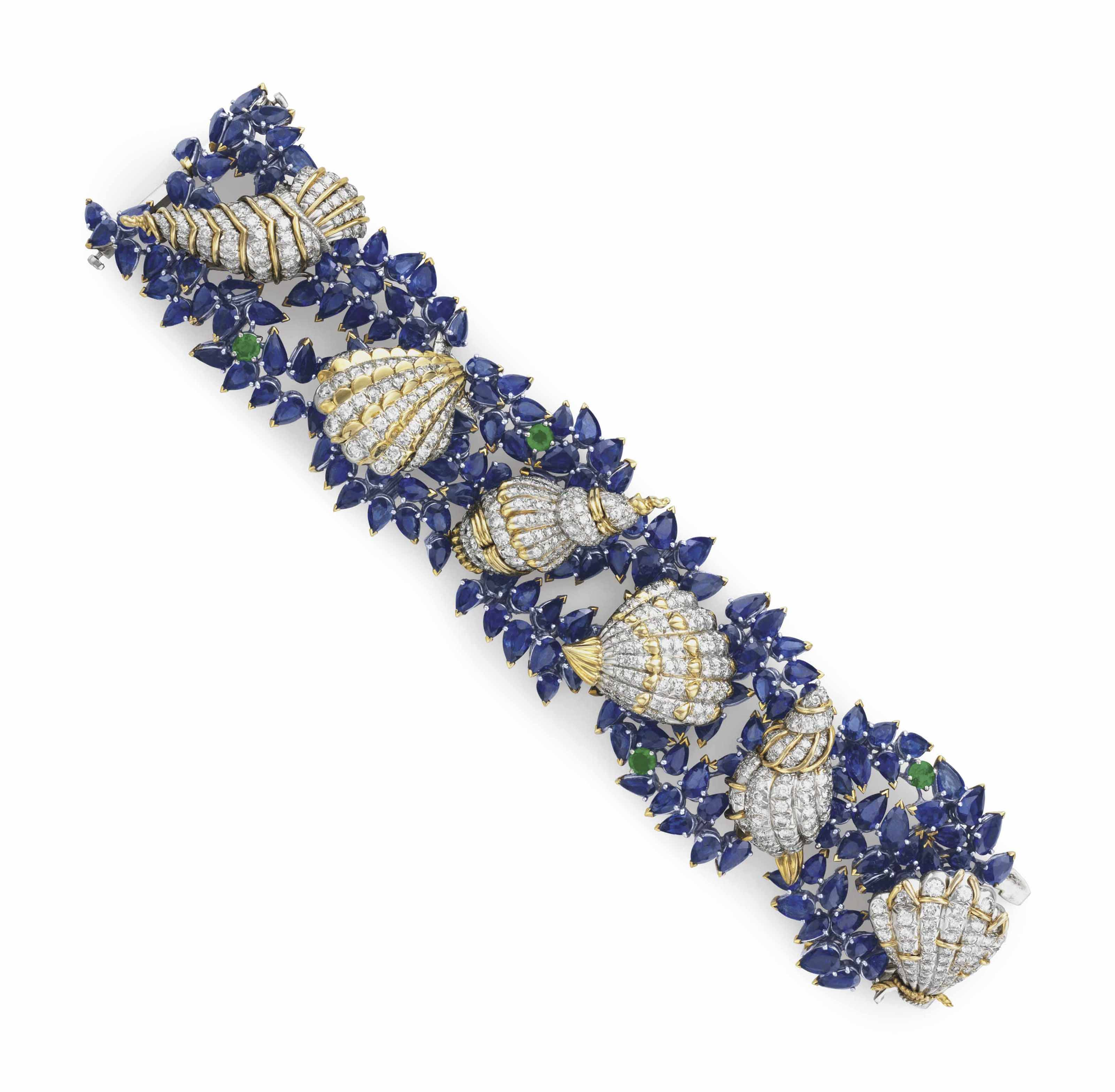 A SAPPHIRE, DIAMOND AND EMERALD 'SEA SHELLS' BRACELET, BY JEAN SCHLUMBERGER, TIFFANY & CO.