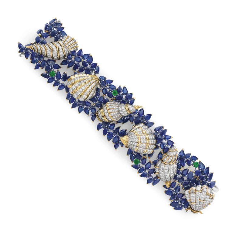 From The Collection of Peggy and David Rockefeller. A sapphire, diamond and emerald 'Sea Shells' bracelet, by Jean Schlumberger, Tiffany & Co. Sold for $250,000 on 12 June 2018 at Christie's in New York