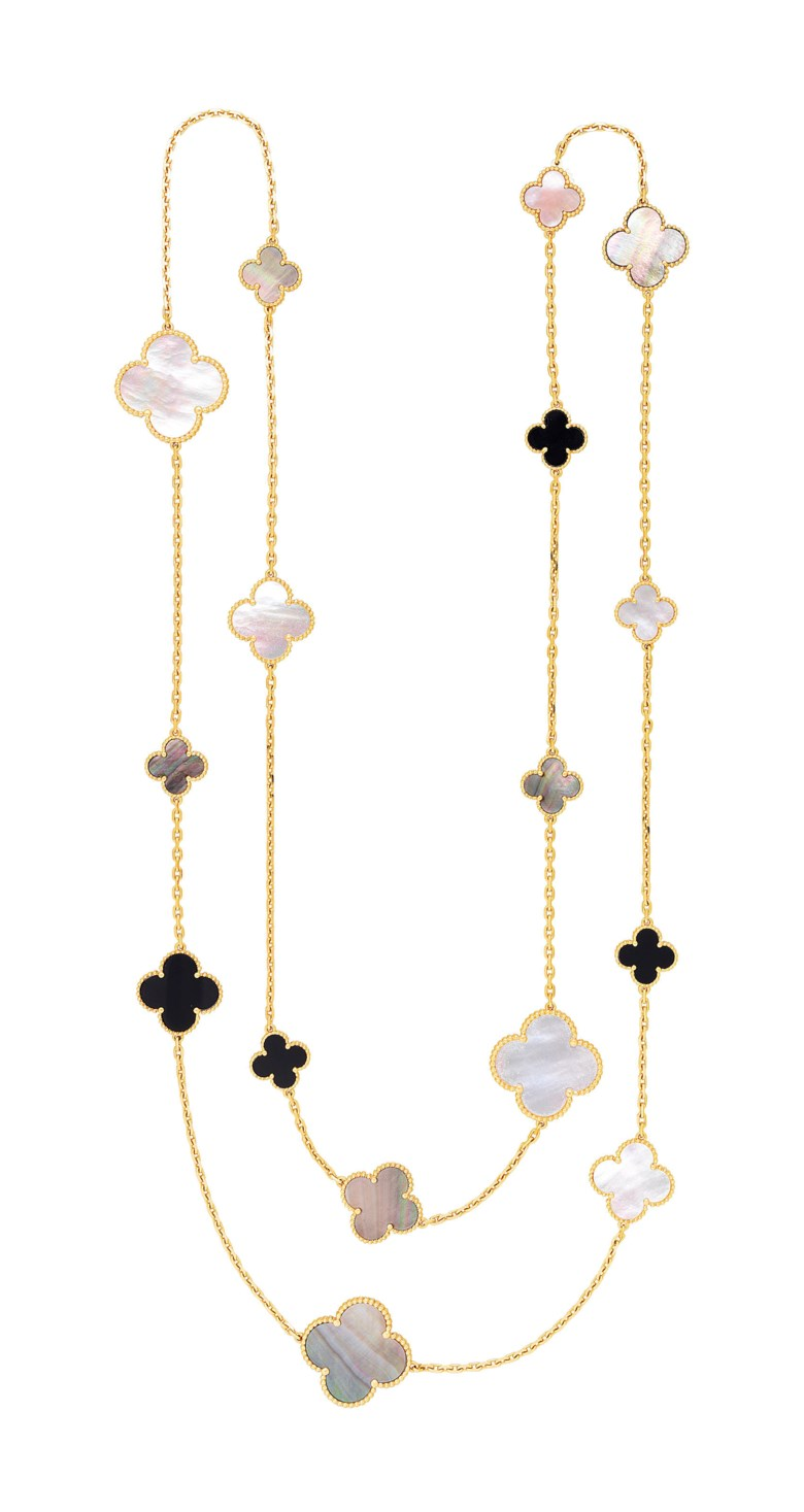 Mother-of-pearl and onyx 'Magic Alhambra' long chain necklace, Van Cleef & Arpels. Sold for $22,500 on 5 December 2018 at Christie's in New York