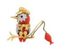 CORAL, DIAMOND AND GOLD 'KINGFISHER' BROOCH, DONALD CLAFLIN, TIFFANY & CO.