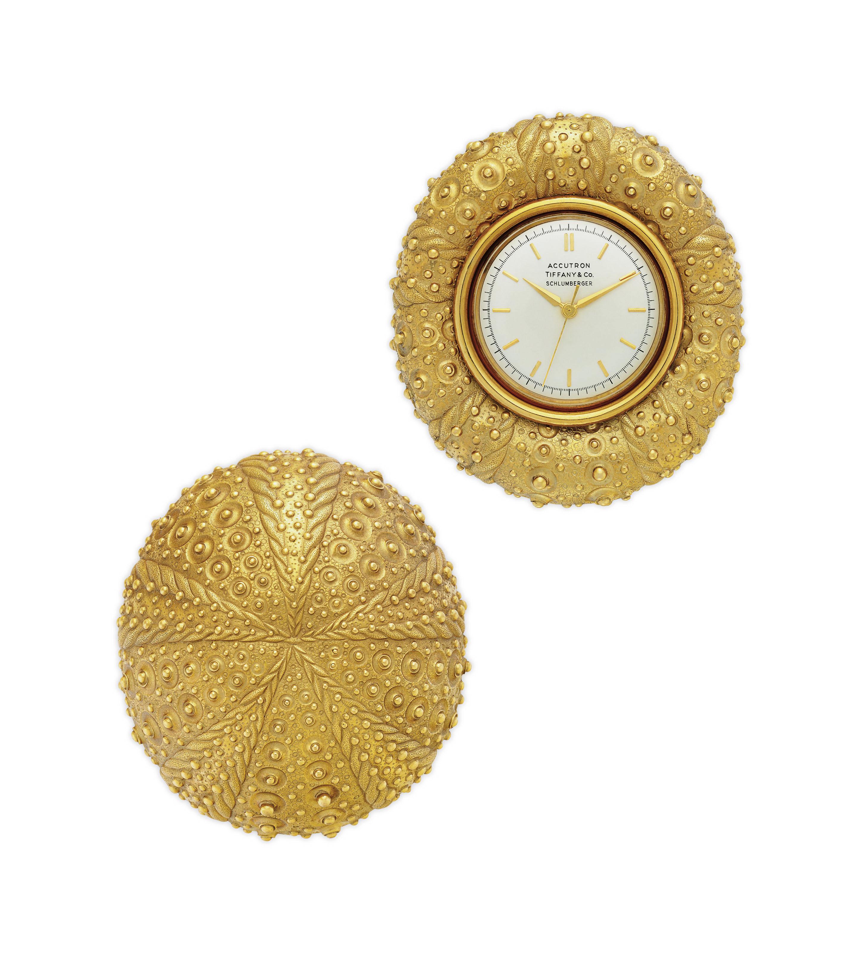GOLD SEA URCHIN DESK CLOCK, JE