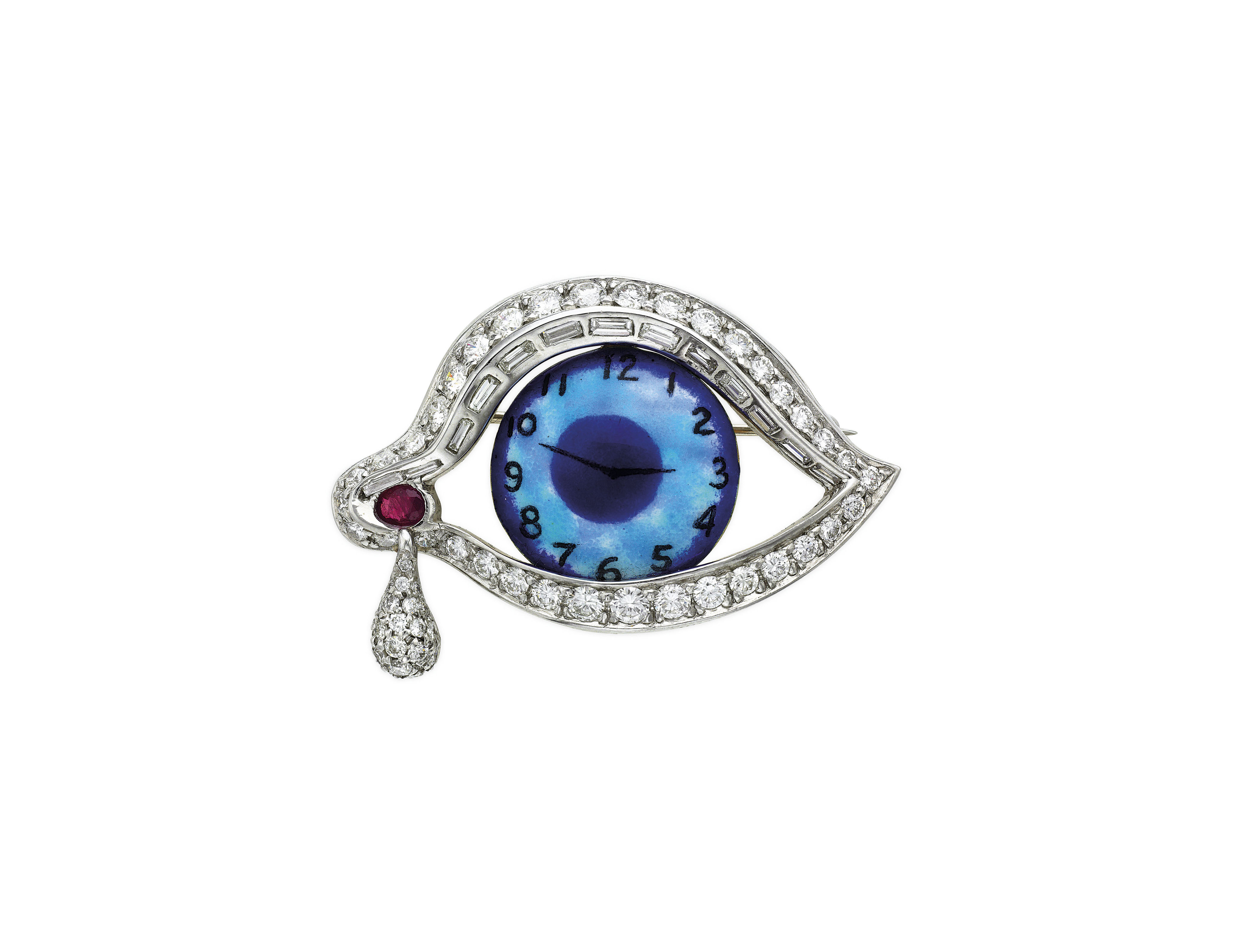ENAMEL, DIAMOND AND RUBY 'EYE OF TIME' BROOCH, HENRYK KASTON FOR SALVADOR DALI