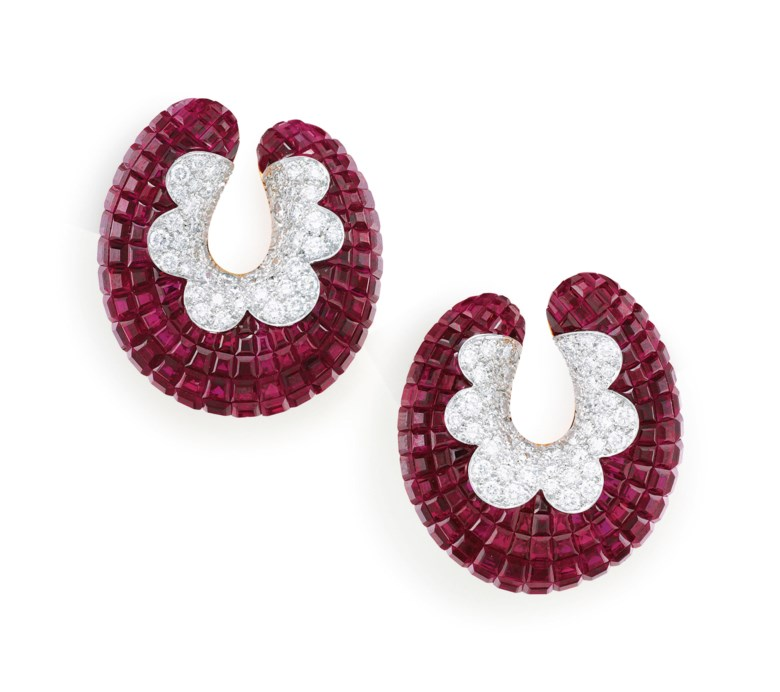 Ruby and Diamond Mystery-Set Earrings, Van Cleef & Arpels. Sold for $193,750 on 5 December 2018 at Christie's in New York