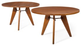 A PAIR OF FRENCH IRON-MOUNTED OAK CENTER TABLES