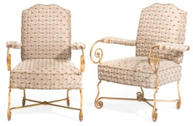 A PAIR OF FRENCH GILT-METAL FAUTEUILS