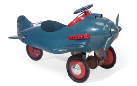 A POLYCHROME-PAINTED METAL CHILD'S PEDAL PLANE TOY