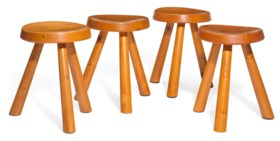 A GROUP OF FOUR FRENCH PINE STOOLS