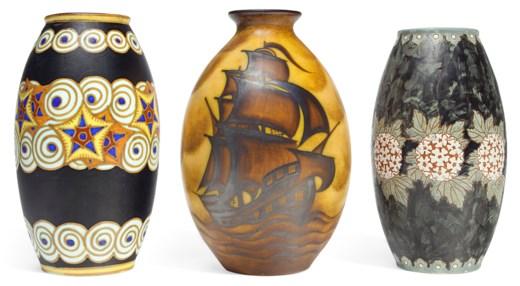 Boch Freres Keramis Three Vases First Half 20th Century Christies